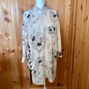 Zara basics cream/ black floral shirt dress size M